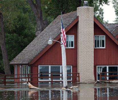 Red house in a flood