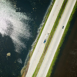 Arial view of road and water