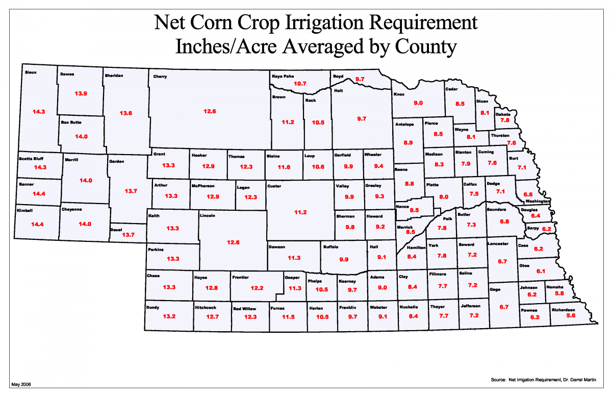 Nebraska Map By County.Net Irrigation Requirement Map Department Of Natural Resources