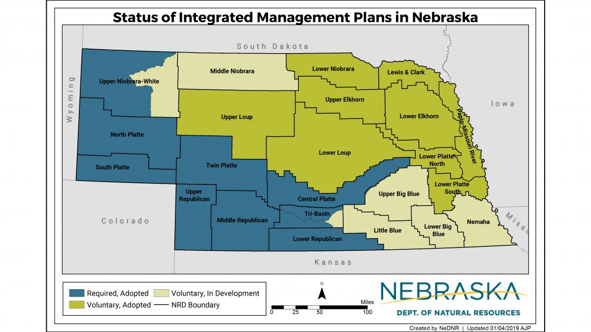 map of Nebraska displaying NRD areas involved in integrated management planning