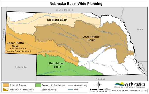 map of Nebraska displaying basin-wide planning