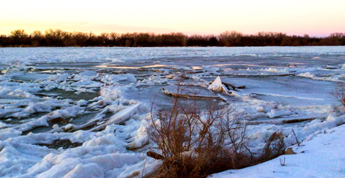 image of ice jam in river