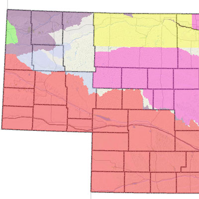 Nebraska state map of surface water appropriations