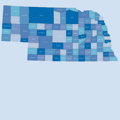 counties in Nebraska colored in blue